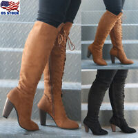 US Womens Ladies Lace Up Thigh Knee High Boots High Block Heels Boots Shoes Size