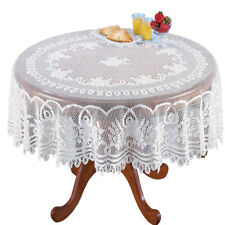 "82"" Round White Lace Tablecloth Table Cover Floral Wedding Banquet Party Decor"