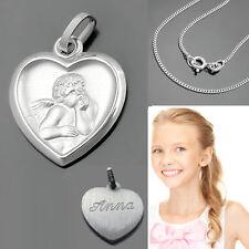 Schutz Engel Herz Anhänger Schmuck mit Namen Gravur und Kette wählbar Silber 925