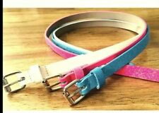 🔥Nwt🔥Girls 3-Pack Glitter/Sparkly Belts Size Small: Pink/White/Blue