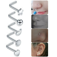 5pcs Steel Nariz Piercing Nose Rings Nez Studs L Shape Nose Bone Nose Screw Stud