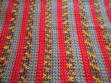 Afgan CROCHET Handmade Baby Throw Blanket 34 x 30  Pink Yellow blue