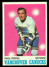 1970 71 TOPPS HOCKEY 122 PAUL POPIEL NM VANCOUVER CANUCKS CARD FREE SHIP TO USA