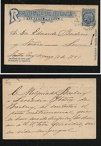 Bolivia  postal  card  1891                 MS0131