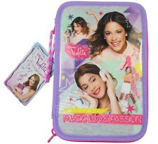 "Disney Violetta ""Music Love Passion"" Double Pencil Case Stationery School NEW"