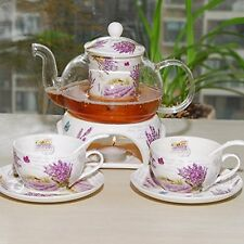 24 oz tea maker teapot with a Porcelain warmer and Cup and Saucer ,spoon XYC s2