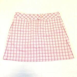 Puma Women's Tech Dry Cell Inner Shorts Skirt Raspberry Pink White Plaid Size 6