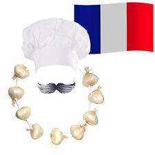 Chef francés Cocinero Disfraz  Sombrero + + + Guirnalda De Ajo Cebolla  bigote bandera c5e6a16ae15