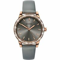 Sekonda Editions Stone Set Rose Gold Case PU Strap Ladies Fashion Watch (Grey 24