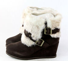 Caterpillar CAT Womens Boisterous Fur Winter Wedge Ankle Boot Brown Size 7 M US
