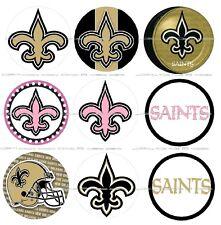 """63 Ct. New Orleans Saints Scrapbooking Bottle Cap 1"""" Stickers Set - Adhesive"""