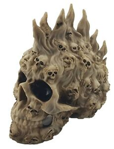 Skull Head with Lost Souls Bone Ornament Figurine Sculpture Halloween *22 cm*