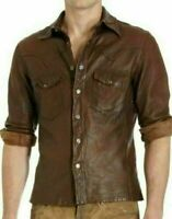 MENS CASUAL POLICE UNIFORM STYLE GENUINE LEATHER SLIM FIT SHIRT VINTAGE NEW