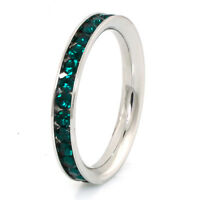 Stainless Steel Eternity Green Crystal Stackable Fashion Ring 3MM