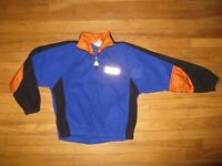 Wilson Vintage 1990's Boys Size 7/8/9 Black Orange Blue Fleece 1/4 Zip Pullover