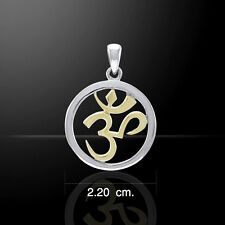 Om Meditation Gold and Silver Pendant by Peter Stone