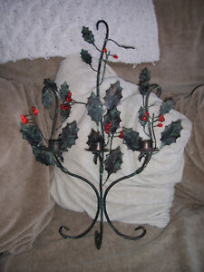 christmas holly and berry candle stand