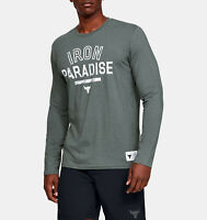 Under Armour Mens Project Rock Iron Paradise T-Shirt 1346101-012 Gray/White NWT