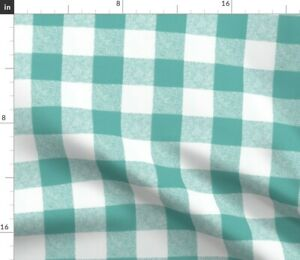 Blue And White Rustic Plaid Gingham Check Buffalo Spoonflower Fabric by the Yard