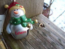 """New """"Katherine"""" Personalized Jingle Bell Snowman Ornament, Last One In Stock"""
