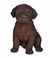 Sitting CHOCOLATE LABRADOR Puppy Dog - Life Like Figurine Statue Home Garden NEW