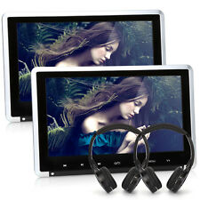 "2x HD Auto Poggiatesta Monitor 10.1"" DVD Lettore Player HDMI USB/SD Mp3+2xCuffia"