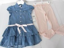 GUESS Girls Suit Pink Legging & Denim Dress size 6 New