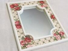 STUNNING MOSAIC ROSES on WHITE WALL MIRROR DECOR~Shabby~Cottage~Chic~Country