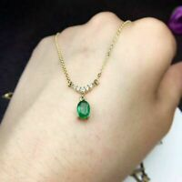 14k Yellow Gold Over 4.50ct Diamond Emerald Woman's Pendant Stunning Necklace