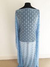 Summer Blue Geo Floral Stretch Lace Dressmaking Fabric