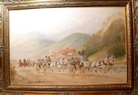 antique 1862-1911 Hans Gottfried Wilda Watercolor horse carriage ride painting