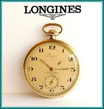 LONGINES Pocket Watch, Open Face, 50mm - Gold Filled - Working - Adv: COMBINADOS