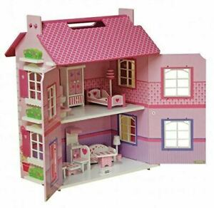 Wooden Country Dolls House with Furniture, Kids Girls Pink Toy Dollhouse Playset