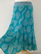 Anokhi For East Midi Skirt Size 14 Flared Turquoise Purple Gold
