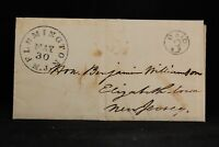 New Jersey: Flemington 1853 Stampless Cover, Black CDS & Circled PAID 3