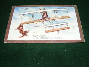 "VINTAGE POSTCARD ART CAT KITTEN FLYING ""WRIGHT"" AEROPLANE AIRCRAFT BI PLANE TUCK"