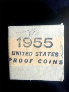 BRILLIANT HIGH 1955 PROOF SET IN ORIGINAL BOX/TISSUE/CELLOPHANE