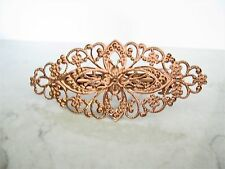 Rose gold copper metal alloy filigree hair clip barrette  bridal hair clip