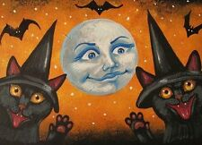5X7 PRINT OF PAINTING RYTA HALLOWEEN BLACK CATS HISS WITCH FOLK ART MAGIC DECOR
