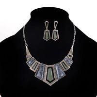 New Fashion Women Rhinestone Necklace Earrings Set Charm Pendant Crystal Jewelry