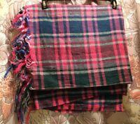 """VTG Tartan Plaid Tablecloth Fringe Pink Green 57"""" X 51"""" Rectangle EXCELLENT"""