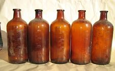 VTG Qty 5 Brown Amber 500 Mils cork top Apothecary Bottles  Rx Pharmacy