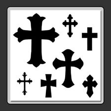 12 X 12 (7 in 1) Mixed Crosses STENCIL Template Gothic/Halloween/Crucifix/Cross
