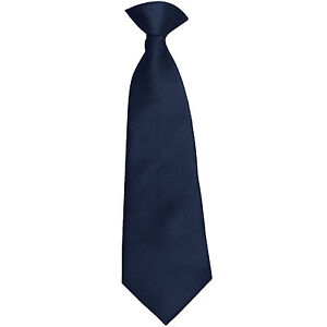 New 100% Polyester Kids Clip On Pre Tied Neck tie solid navy blue Size 14 formal