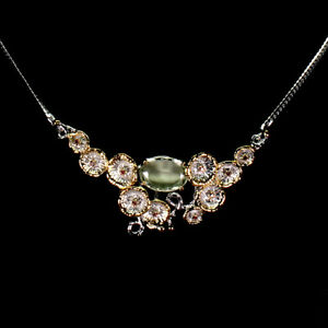 Green Amethyst 16x11mm Sapphire Natural 925 Sterling Silver Necklace 18.5 Inches