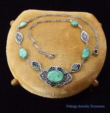 Vintage Art Deco Green Czech Glass Silver Filigree Enameled Necklace
