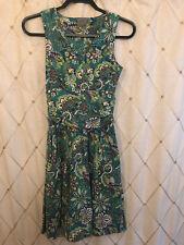 Athleta Size XS Jura Dress Green Paisley Floral Pockets Ruched Sleeveless