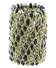 Gold Black and Dark Silver Metallic Glass Bead Bracelet