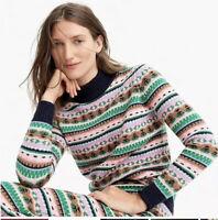 J. Crew Womens Sweater XS Mock Fair Isle Lambswool Blend Nordic NEW