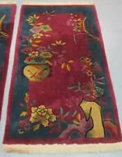 "VINTAGE  CHINESE ART DECO RUG WOOL HAND KNOTTED CIRCA 1920  4' 5"" X 2' 6"""